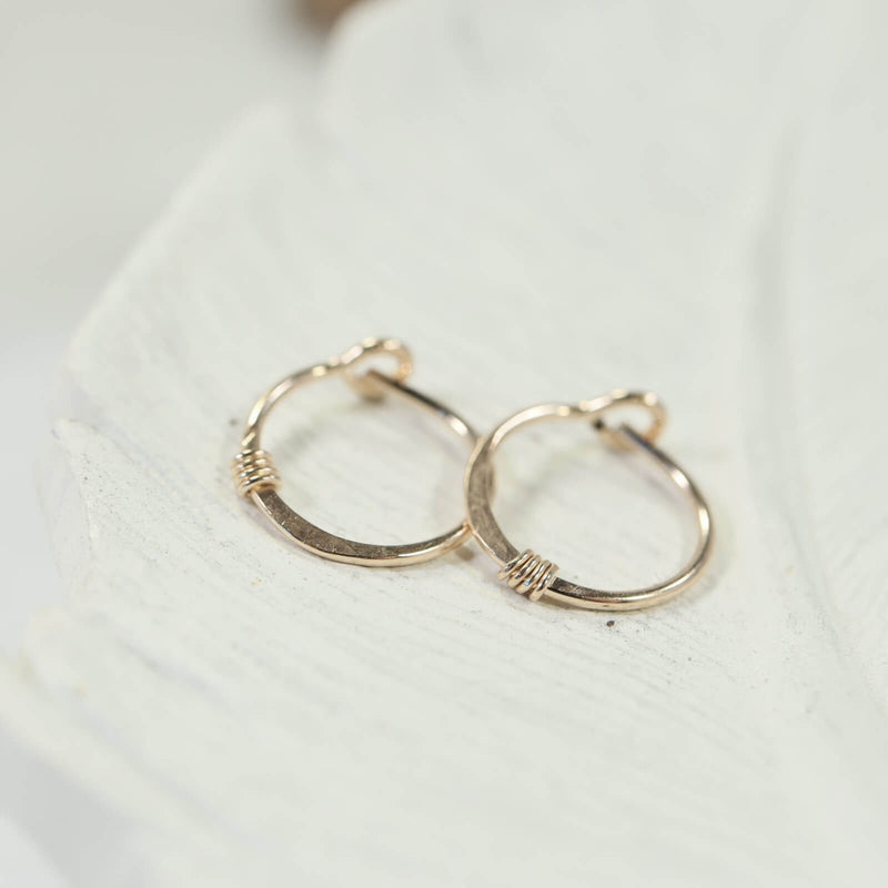 hammered & wrapped tiny hoop earring in gold