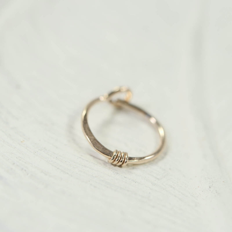 hammered & wrapped tiny hoop earring gold