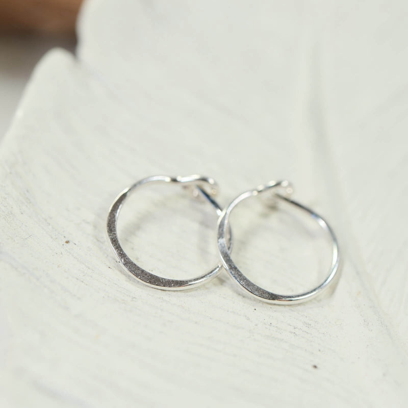 silver hammered tiny hoop earrings