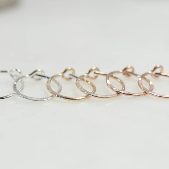 hammered tiny hoop earrings silver, gold, pink gold