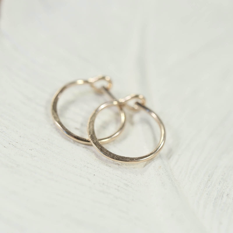 gold hammered tiny hoop earrings