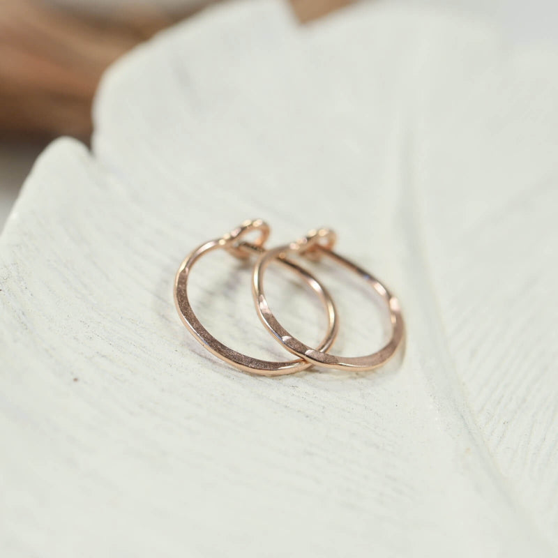 hammered tiny hoop earrings pink gold