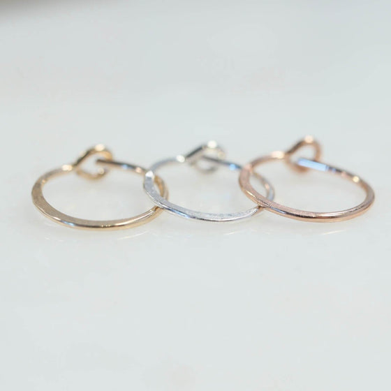 hammered single hoop earrings gold, silver, pink gold