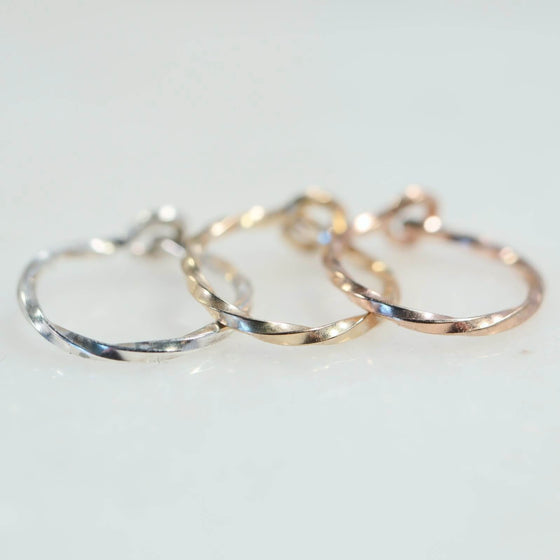 cartilage earring twist silver, gold, pink gold