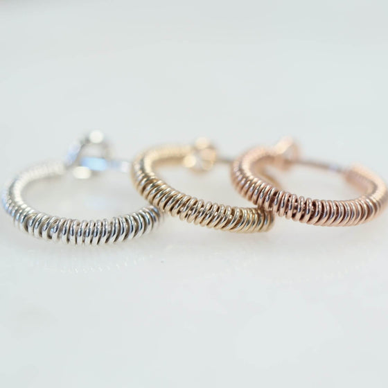 full wrap tiny hoop earrings silver, gold, pink gold