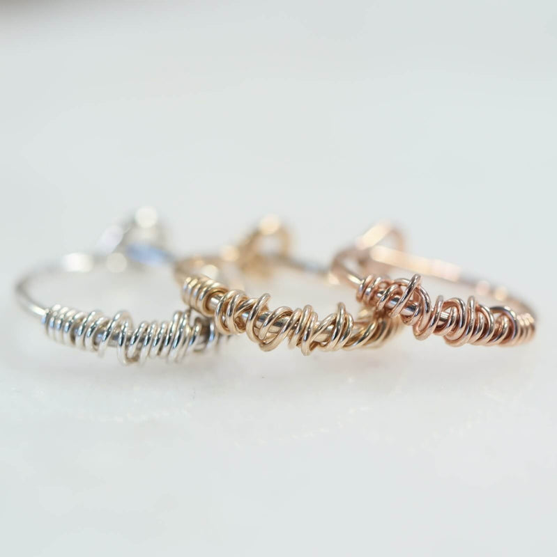cartilage hoop earring single tangled silver, gold, pink gold