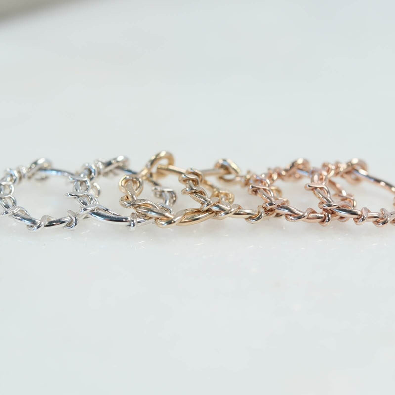 squiggles tiny hoop earrings silver, gold, pink gold