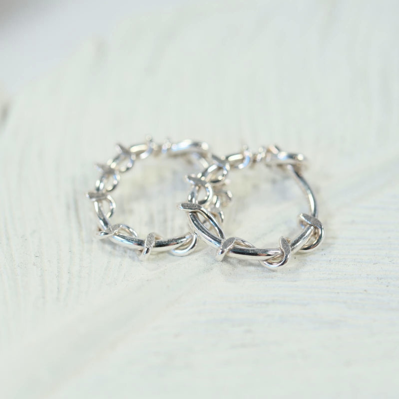 squiggles tiny hoop earrings silver