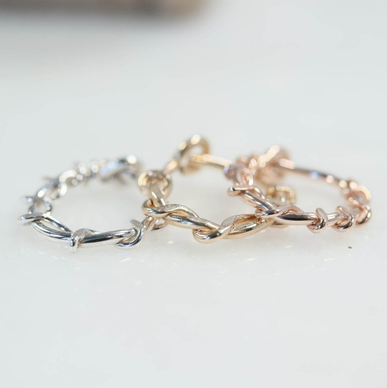 squiggles cartilage earring silver, gold, pink gold