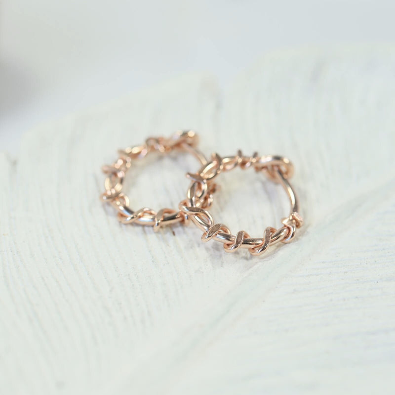 squiggles tiny hoop earrings pink gold