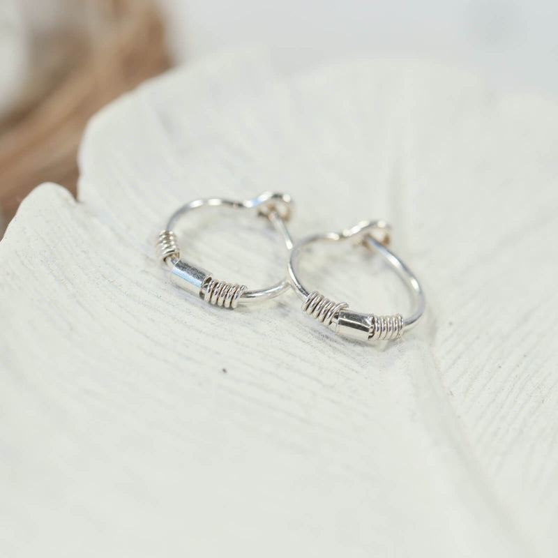 beaded & wrapped tiny hoop earrings silver