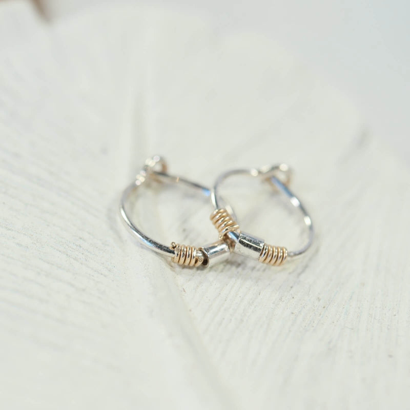 beaded & wrapped tiny hoop earrings gold