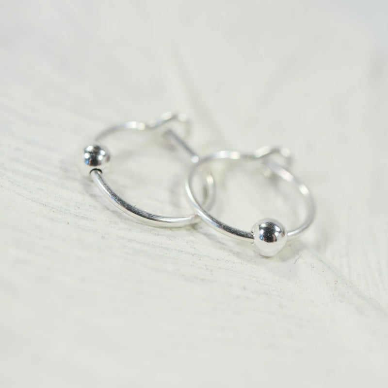 beaded tiny hoop earrings silver