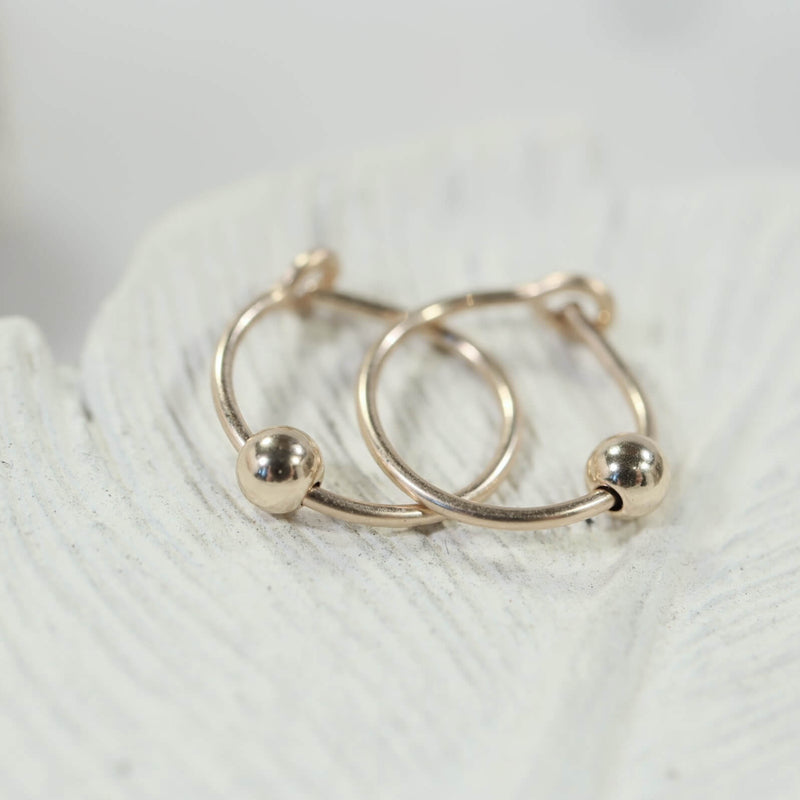 beaded tiny hoop earrings gold