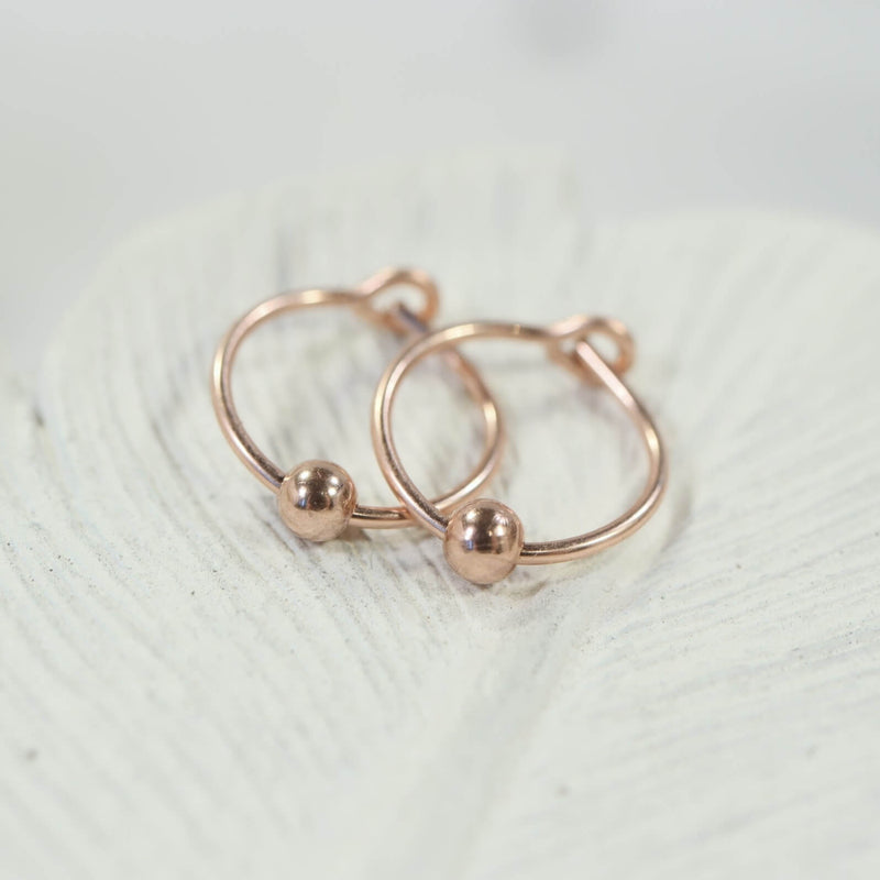 beaded tiny hoop earrings pink gold