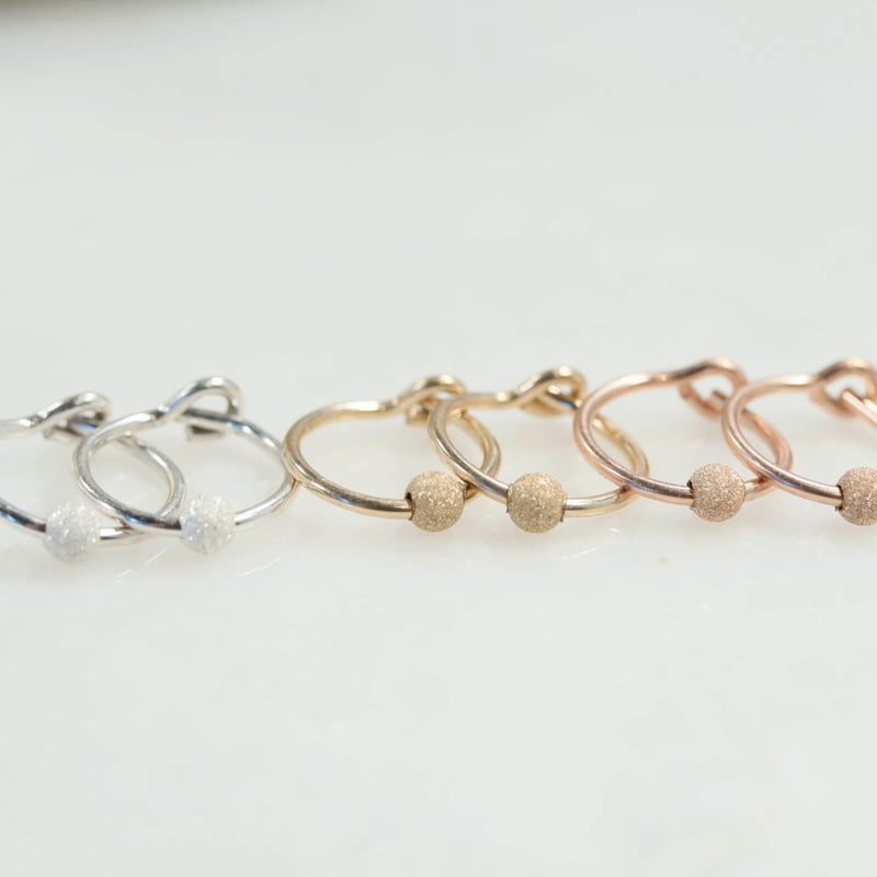 stardust tiny hoop earrings silver, gold, pink gold