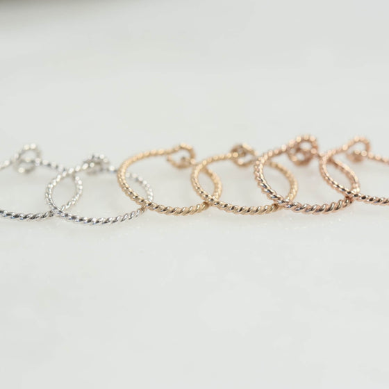 dot twist tiny hoop earrings silver, gold, pink gold