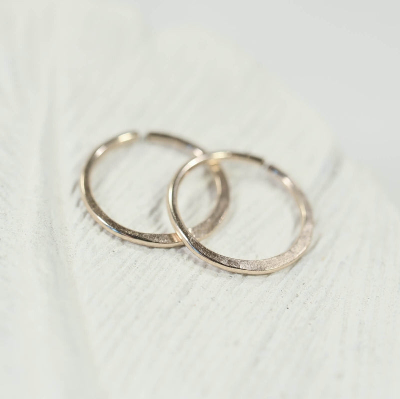 tiny hoop earrings hammered endless gold