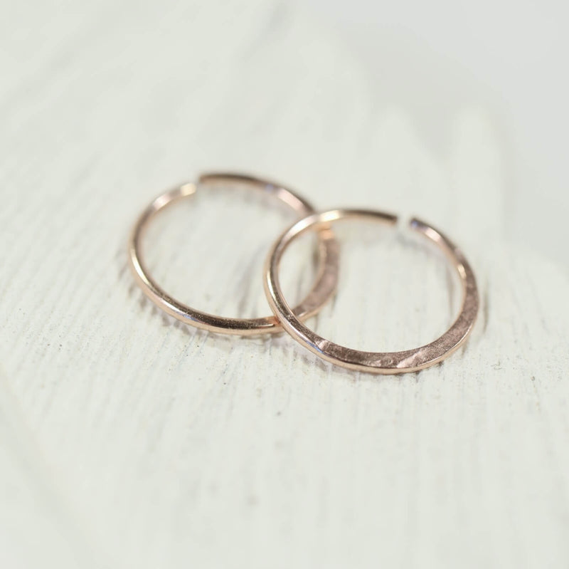 tiny hoop earrings hammered endless pink gold