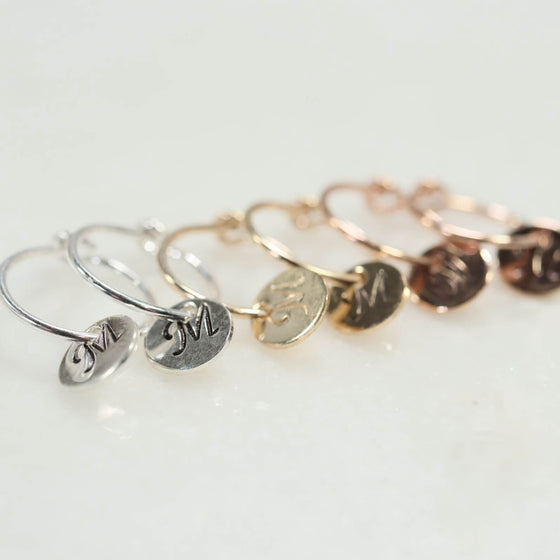 tiny hoop earrings monogram dangles silver, gold, pink gold