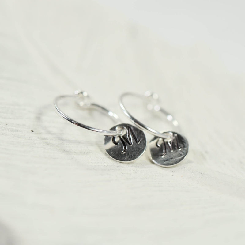 tiny hoop earrings monogram dangles silver