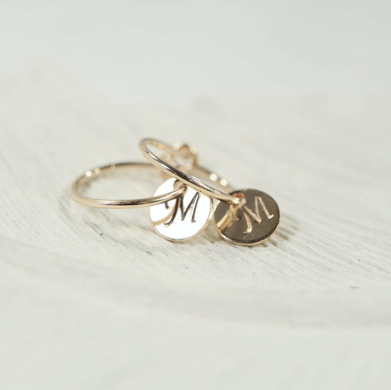 tiny hoop earrings monogram dangles gold