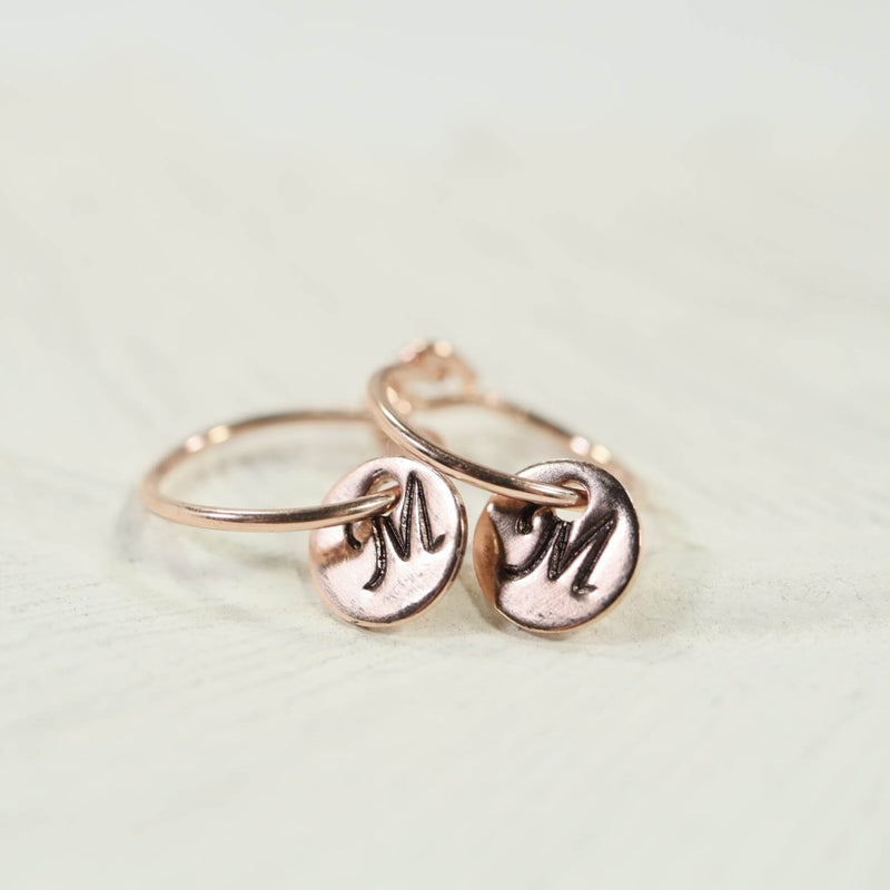 tiny hoop earrings monogram dangles pink gold