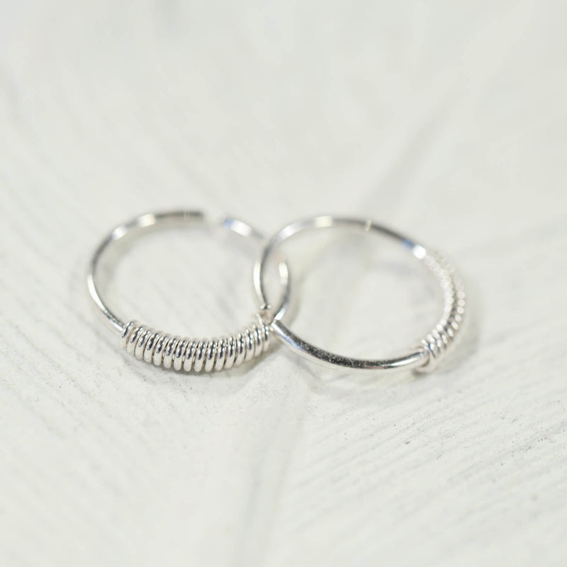 tiny hoop earrings wrapped endless silver