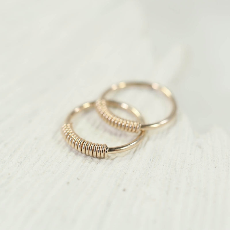 tiny hoop earrings wrapped endless gold