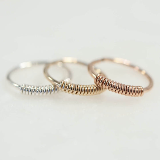 endless wrapped single mens hoop silver, gold, pink gold