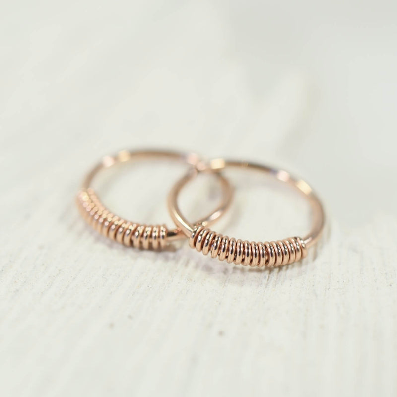 tiny hoop earrings wrapped endless pink gold