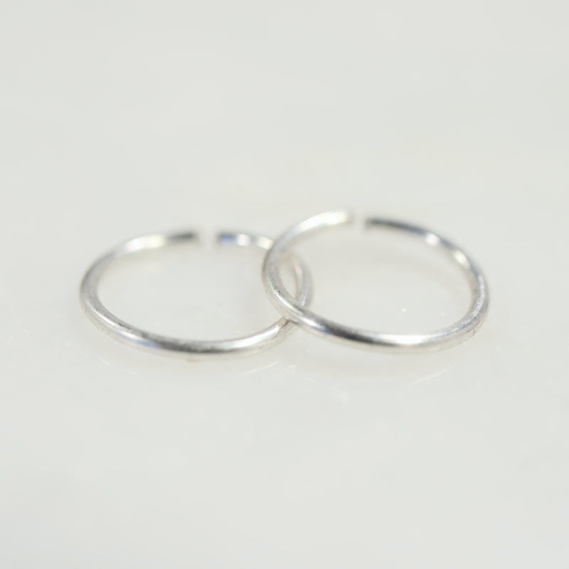 Plain endless silver mens hoop earrings