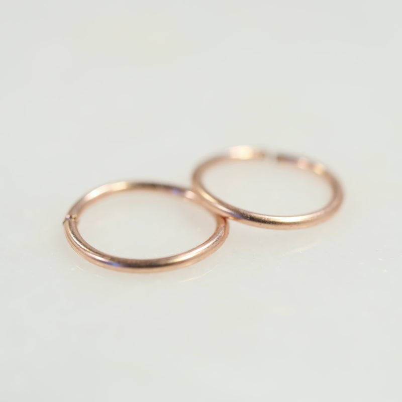 pink gold plain endless hoop earrings for men