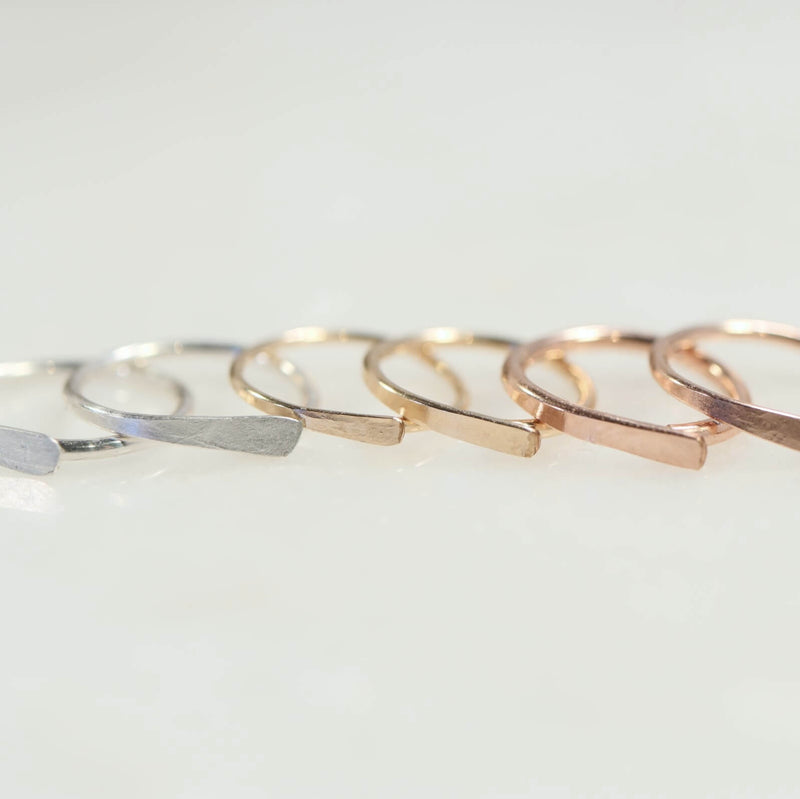 Flat Tiny Hoop Earrings Choose Your Size and Metal Precious & Semi Precious