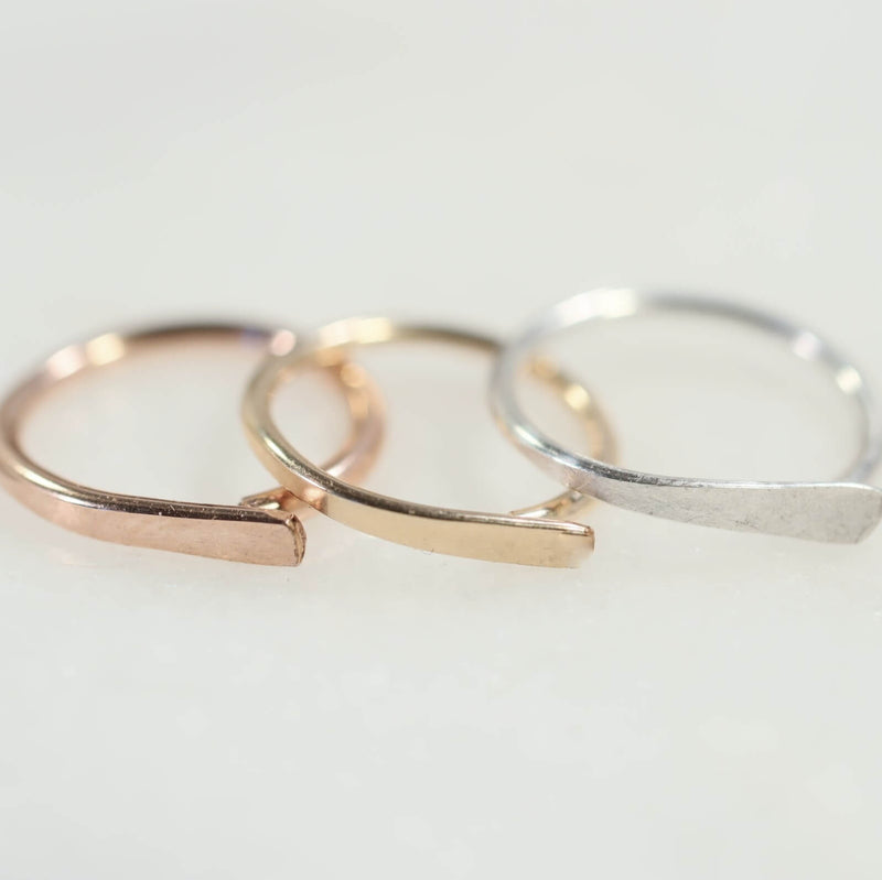flat nose ring in pink gold, gold, silver
