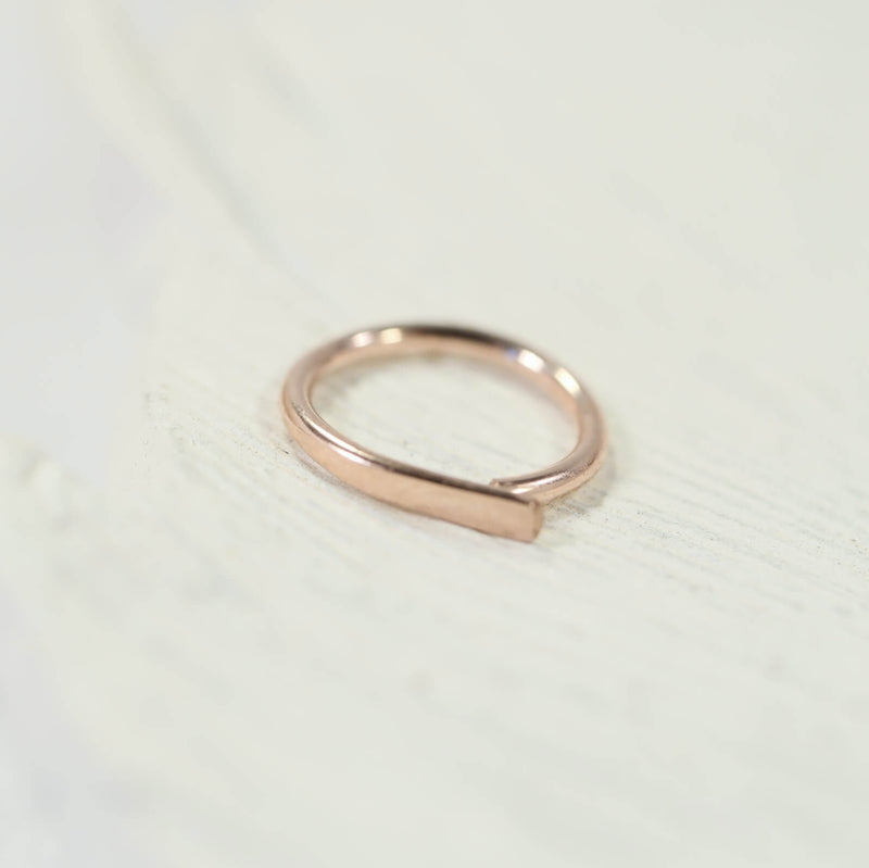 flat nose ring pink gold