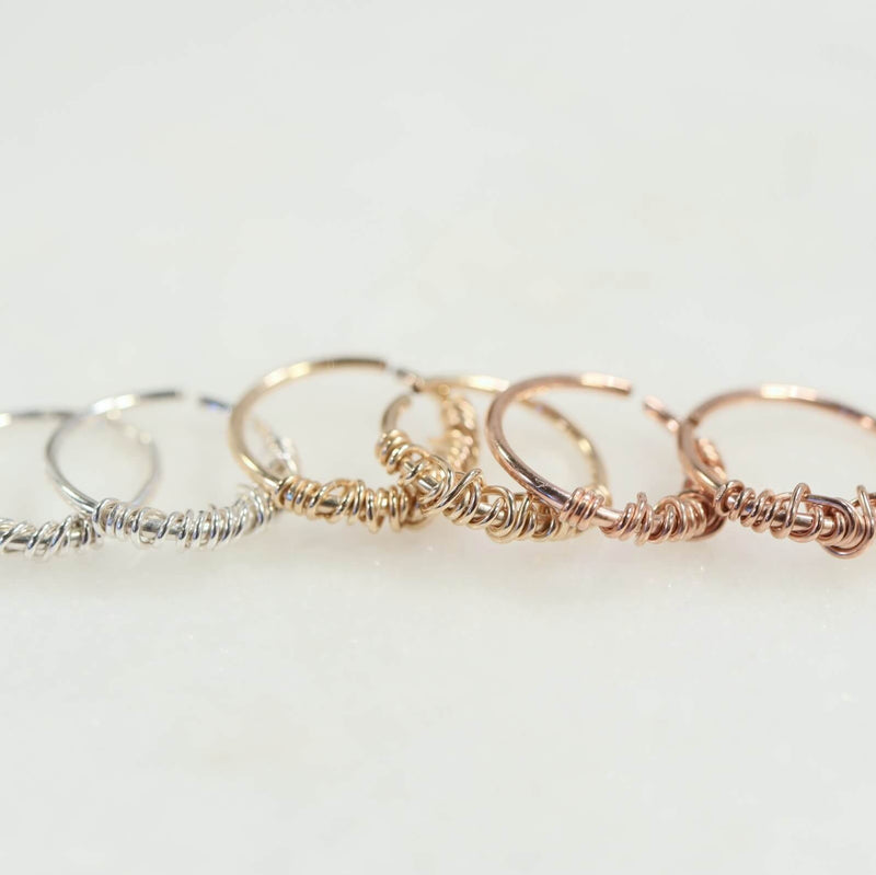 tiny hoop earrings tangled endless silver, gold, pink gold
