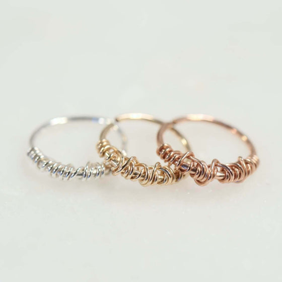 tangled tragus earring silver, gold, pink gold