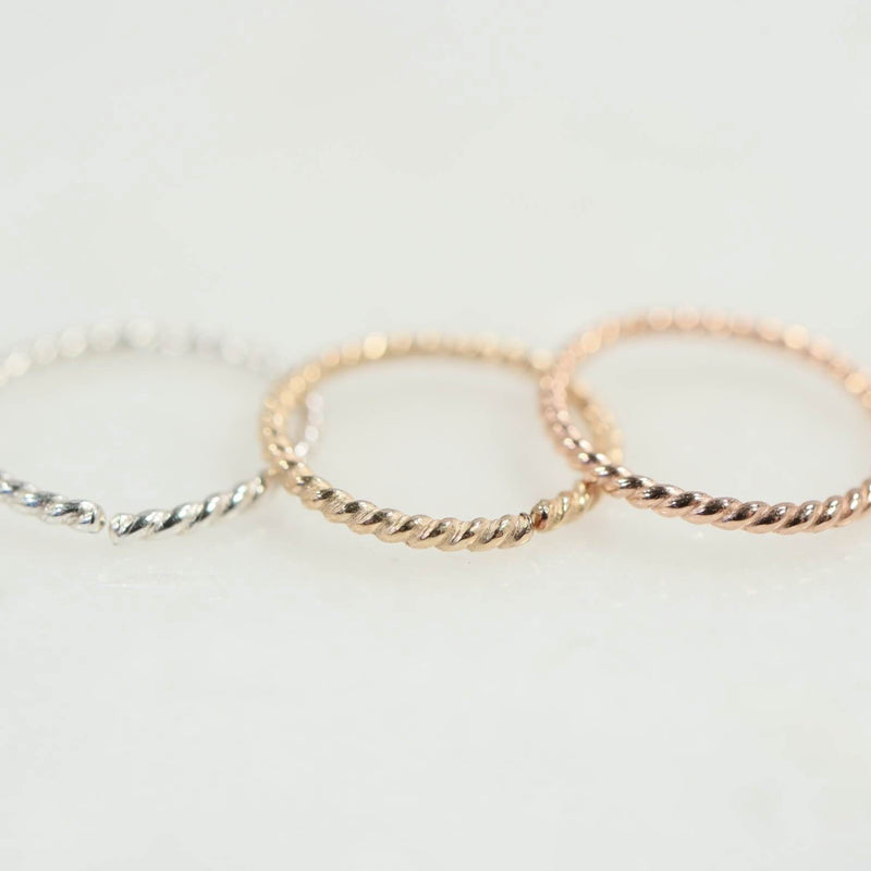 cartilage earring dot twist silver, gold, pink gold