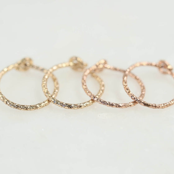 diamond cut tiny hoop earrings gold, pink gold
