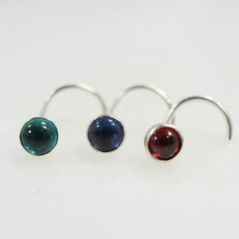 gemstone nose stud 4mm emerald, sapphire and ruby