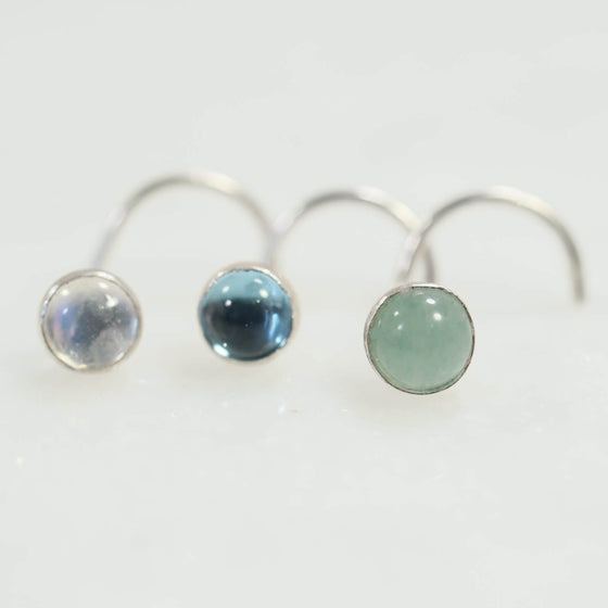 gemstone nose stud 4mm silver with moonstone, blue topaz, aventurine