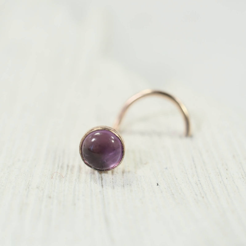 amethyst gold nose stud 4mm