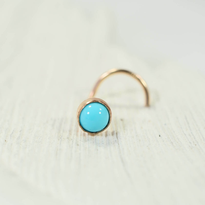 turquoise gold nose stud 4mm