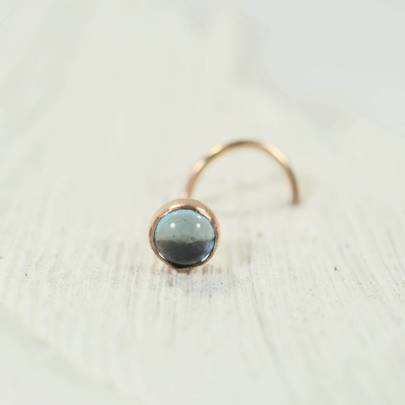 blue topaz gold nose stud 4mm