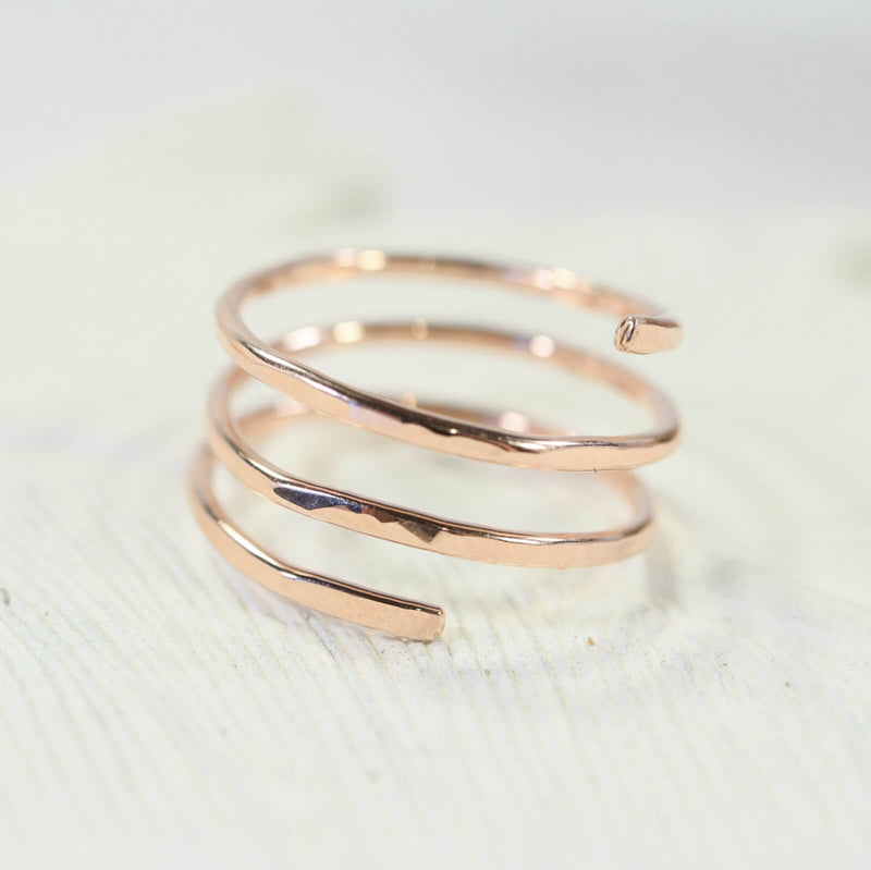 spiral stacking ring pink gold