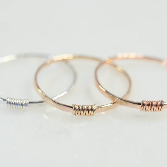 thin stacking rings hammered & wrapped silver, gold, pink gold