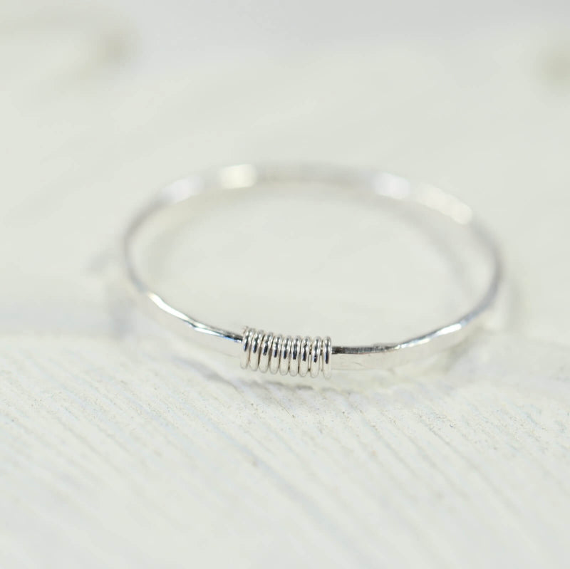 hammered & wrapped stacking ring silver
