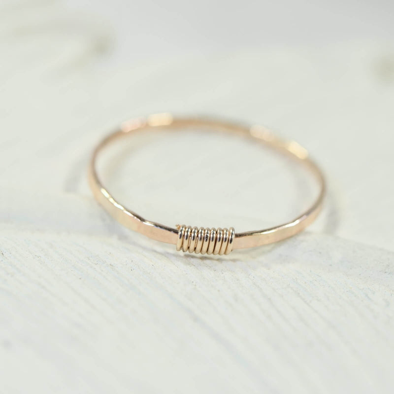 hammered & wrapped stacking ring gold