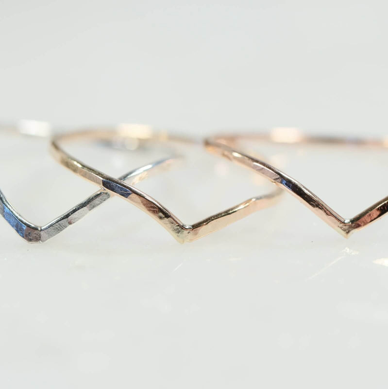 hammered V stacking ring silver, gold, pink gold